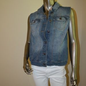 Xhilaration | Distressed Denim Vest L